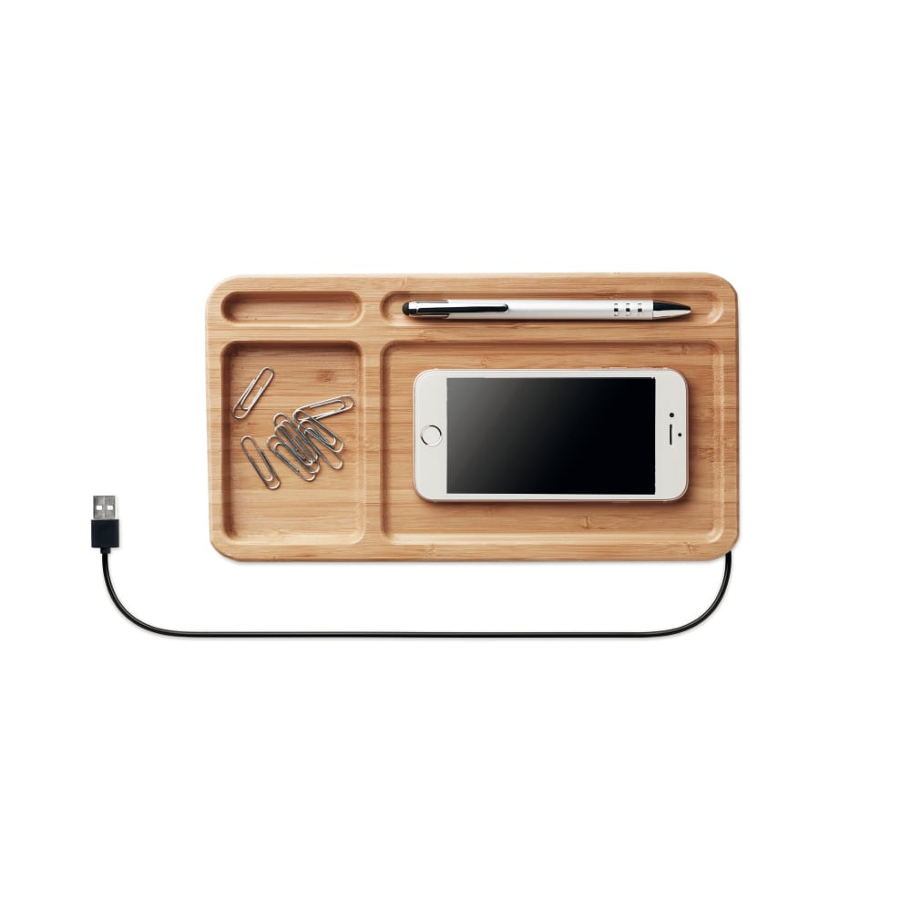 cargador inalambrico bambu sobremesa oficina