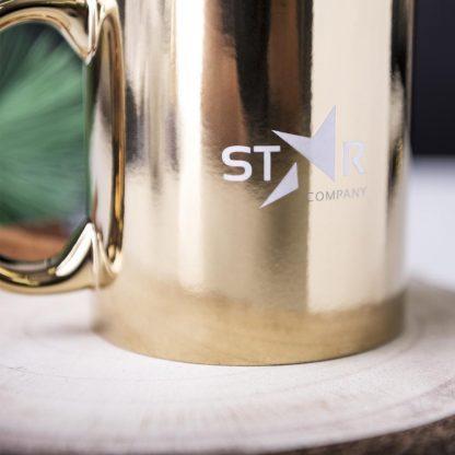 taza ceramica metalizada personalizada laser logo