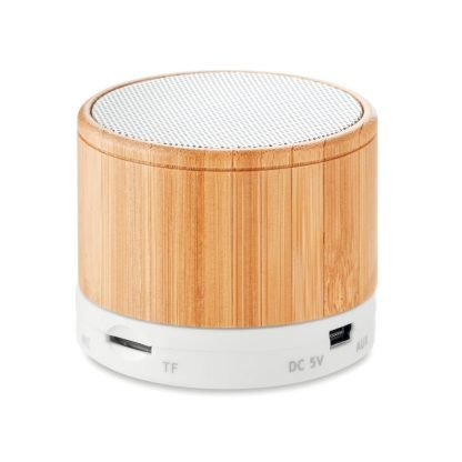altavoz bambu ecologico personalizar logo