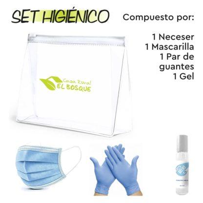 Set higiénico compuesto por un par de guantes, mascarilla y gel hidroalcohólico para manos, en neceser